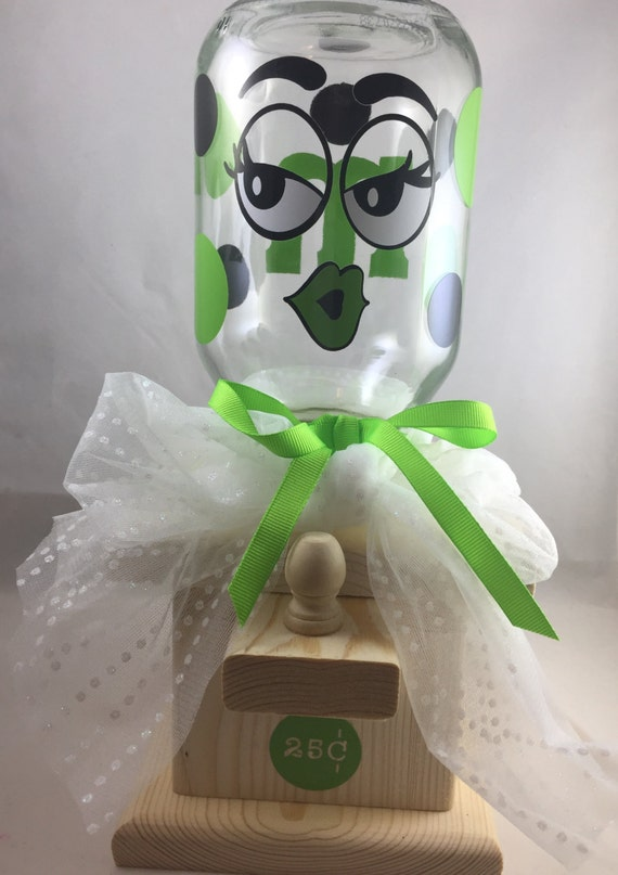 Candy Ms Green Hand Crafted Wooden Candy Machine Dispenser
