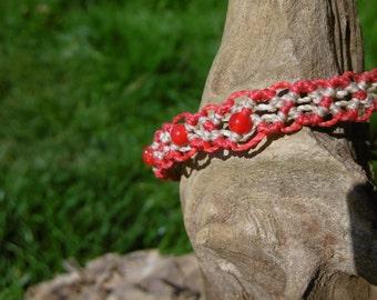 Macrame bracelet red & Beige