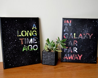 "Star Wars ""A Long Time Ago In a Galaxy Far Far Away"" Diptych - 2 8x10 Canvases"