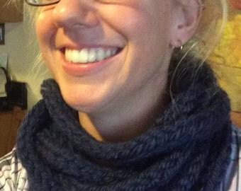 Layered circle scarf - navy