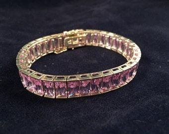 Lavender Cubic Zirconia Sterling Silver Bracelet- J1019