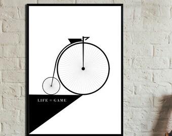Roue de bicyclette Poster. Download. Wall art. Abstract art. Print art. Modern art. Typography Poster. Digital art.
