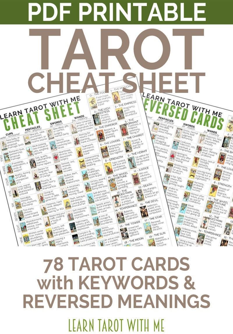 Divine image throughout free printable tarot cheat sheet