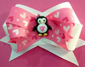 Valentine's Day Penguin Hair Bow