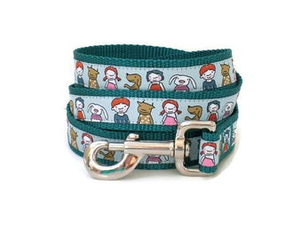 dog leash - me n' my friends teal dog leash - alien friends large summer dog leash - heavy duty dog leash - dog leash with metal hook