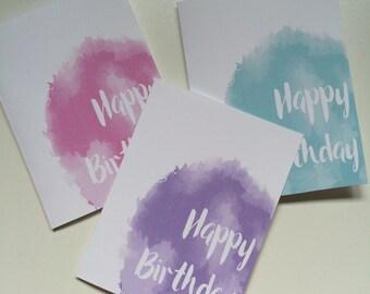 Happy Birthday Card Printable - Birthday Card For Her - Birthday Card For Him - Birthday Card Set - Pink - Purple - Blue - Typography Card
