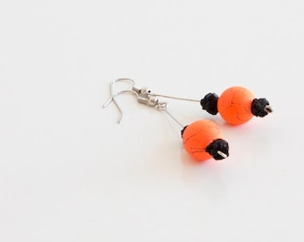 Neon Earrings. Ball Earrings. Neon Orange Earrings. Crochet Jewelry. Crochet Earrings