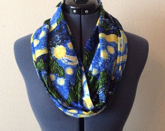 Starry Night Infinity Scarf / The Starry Night / Art Work / Classic / Infinity Scarf / Starry Night Scarf / Vincent Van Gogh