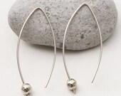 Minimalist Silver Earrings, Open Hoop Earrings, Ball Earrings, Almond Shape, Arc Earrings, Line Earrings, Ear Threaders, Silver Hoops