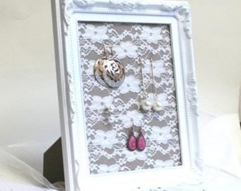 Lace Earring Holder, Shabby chic Jewelry display, White lace Stud earring display, Shabby chic bridesmaid gift, Framed Earring Organizer