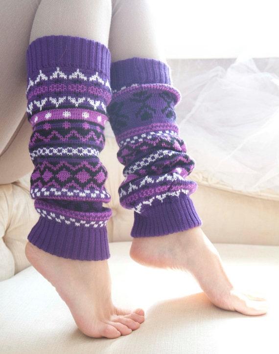 Knit Scandinavian purple Leg Warmers, Women's Leg Warmers, Knitted Leg Warmers, long socks, wonderful stretchy gaiters, wool