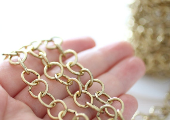 10mm Gold Brass Chain Large Link Chain Brass Cable Chain