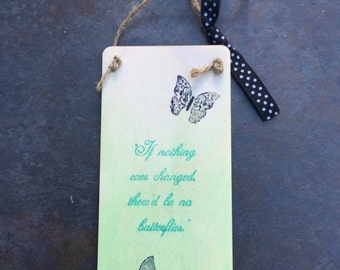 Handmade decorative butterfly & words wooden wall hanging