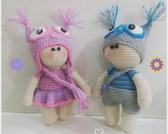 Amigurumi pattern children with hat owl