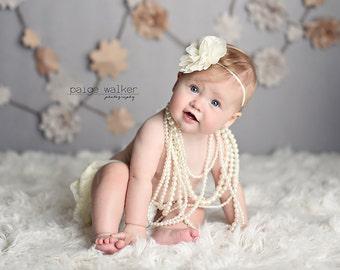 Ivory flower baby headband, infant headband, newborn headband, newborn photo prop, toddler headband, vintage headband