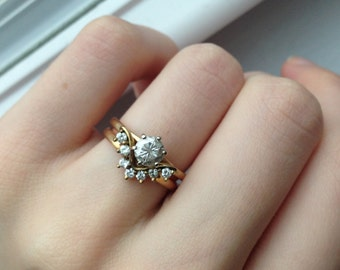 Vintage .79 Carat Diamond Chevron Wedding Set
