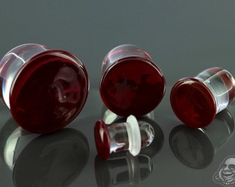 """Plum Red Colorfront single flare glass plugs:  14g, 12g, 10g, 8g, 6g, 4g, 2g, 0g, 00g (10mm), 7/16"""" (11mm), 12mm, 9/16"""" (14mm), 5/8"""" (16mm)"""