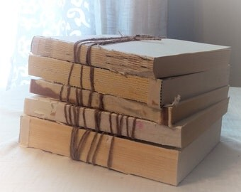 Urban Texture, Set of Five, Neutral unbound books, wrapped in twine, rustic photo prop, with free shipping in the USA, wabi-sabI decor