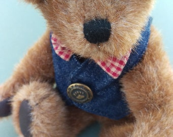 Hello World! Boyds Bears J B Beans Bearwear Jointed Bear Plush Denim Vest, adorable, bow tie, stuffed animal, red, white and blue, memorial