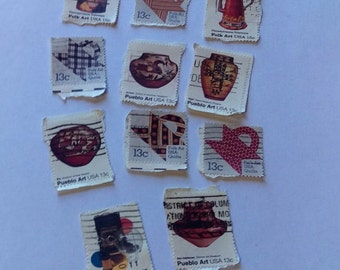11 Vintage cancelled stamps, Folk art and Pueblo Art, Postage Stamps, Quilt Stamps, Free Postage on stamps when shipped with another item