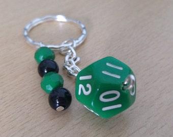 Roleplay Dice Keyring, Green, Wargaming, Specialist, Twelve Sided Die Keychain