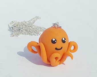 Octopus Necklace, Polymer Clay Jewelry