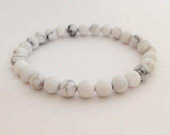 Howlite bracelet White howlite bead 6 mm stone bead bracelet women bracelet