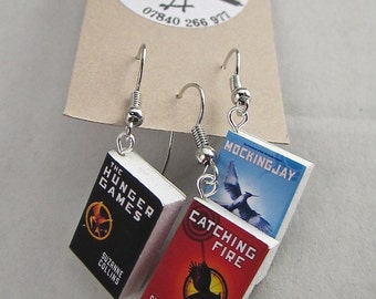 "The Hunger Games Books Earrings from ""The Earring Library"""