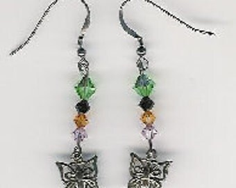 EW08007P-Earrings-Sterling Silver butterflies, links and earwires with naturally aged patina, Austrian Crystal, 2 in.