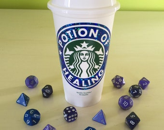 Dungeons and Dragons D&D Personalized Customized Potion of Healing Starbucks Cup