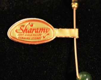 Vintage 'New With Tags' Jade & Gold Filled Stick Pin - 40916DO36
