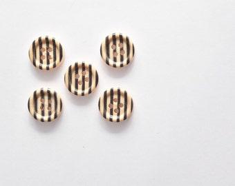 5 Black Stripe Button - Wooden Buttons - Flat Back Buttons Embellishment, Craft Supplies, 15 MM Buttons - Half Inch Button - Small Button