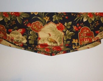 "Black Balloon Valance Chinoiserie Richloom Sapporo Exotic Bird Toile Relax Roman Faux Shade Orange Floral 36"" Width"