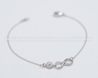 Silver Infinity Bracelet, Bridesmaids Gift, CZ Bracelet, Bridesmaid Bracelet, Bridesmaid Gift, Infinity Bracelet Friendship Bracelet BIF041