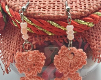Crochet earrings in handmade, Knitted coral jewelry with beads, conected with metal components
