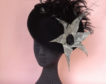 Black Wool Fascinator, with handmade cobweb lace flower & feather spray on black headband