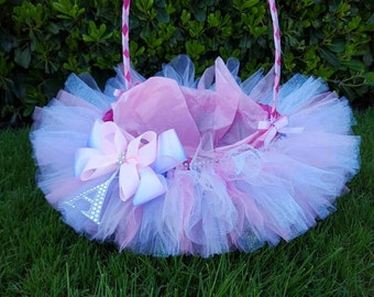 Baby easter basket etsy flower girl basket tutu basket easter basket lined wedding basket baby shower negle Image collections