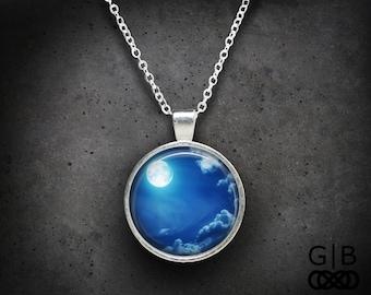 ON SALE Midnight Moon Necklace Night Moon Pendant - Midnight Moon Pendant Necklace - Night Sky Necklace Pendant - Night Moon Necklace Pendan