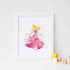 Sleeping Beauty art Disney Watercolor Sleeping Beauty Print, Disney Princess wall Art, Printable Disney Princess Poster instant download