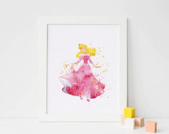 Sleeping Beauty art Disney Watercolor Sleeping Beauty Print, Disney Princess wall Art, Printable Disney Princess Poster instant download