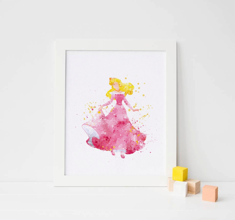 Sleeping beauty art disney watercolor sleeping beauty print for Art sites like etsy