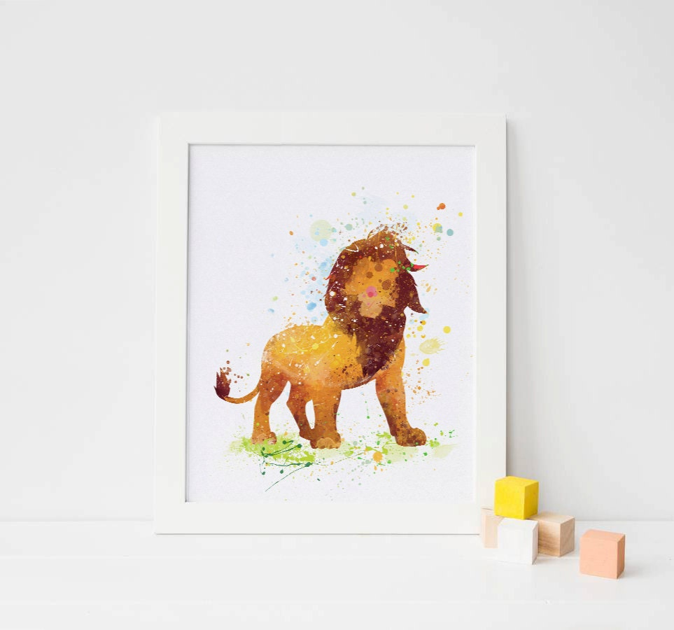 Lion King Nursery Watercolor Lion King Print Lion Disney Baby Boy Nursery Decor Lion