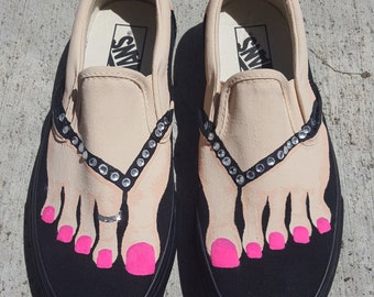 Custom Painted Slip On Shoes as Bare Feet for Nurses or Any Other Design!