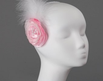 Grace, twenties-style pink and white vintage-style headpiece, pink fascinator, pink and white headband, pink fascinator with white feather