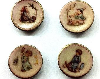 Miniature set of 4 Hummel Plates (CER065)