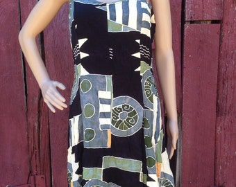 90s batik dress, 1990s sundress, geometric dress, sleeveless sundress, summer sun dress, black rayon 90s grunge dress, festival sun dress,