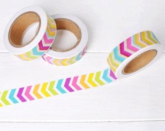 Rainbow Chevron Washi Tape. 15mm x 10m. Colorful Washi Tape. Rainbow Planner Supplies. Summer Washi Tape. DIY Craft Supplies.