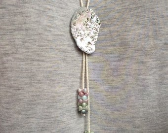Handmade Abalone (adjustable) Bolo Tie + Found Beads w/ Cotton Cord