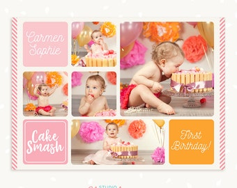 Cake smash photo collage template, First birthday, Cake smash collage, Cake smash mini session collage, Photography collage, Photoshop PSD