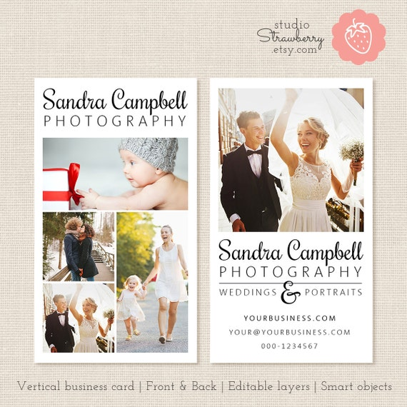 photography business card template vertical business card